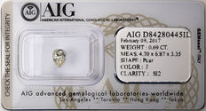 AIG Sealed 0.69 ct Loose Pear cut diamond  J Color , SI2   ** Low Reserve **