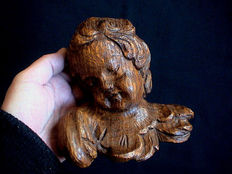 Beautiful putto/angel sculpture carved from oak wood -France - circa 1900
