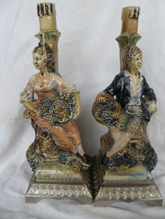 Pair of ceramic bottles-representation of aristocrat  characters -hand-painted-made in Italy