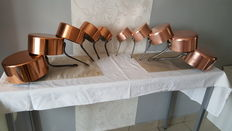 Lot of ten tinned copper pans, stamped TOURNUS and Made In France. Mint condition.