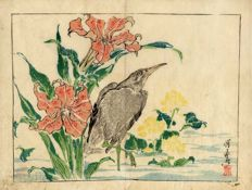Original Print by Kyosai Kawanabe (1831-1889) Egret and Iris – Japan – 1881.