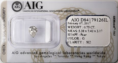 AIG Sealed 0.75  ct Loose Pear cut diamond G colour,  SI2   ** Low Reserve **