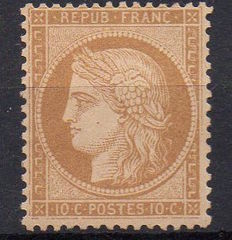 "France1870 - Type Ceres ""Siege of Paris"" - 10c bistre yellow - Yvert n ° 36"