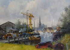 Gert-Jan Veenstra (1957) - Haven in Friesland (Workum?)