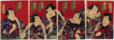 Tetraptych of actors print by Toyohara Kunichika - Japan - circa 1880.