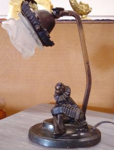 Bronzed metal desk lamp, Pierrot with accordion