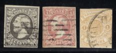 Luxembourg 1852/1859 – First three stamps – Michel 1/3