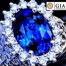 2.47 ct Natural Unheated Blue VS Sapphire and Diamond cocktail ring in 18 kt white gold – GIA Certified – No Reserve