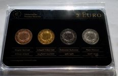 "Latvia, 2 euro, 2014, ""precious metals"", (different coins) in set), plated"