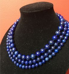 Lapis Lazuli necklace with three strands and a 925 silver clasp