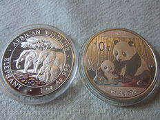 2 x 1 oz : China Panda 1 Oz 10 Yuan 2012 + Somalia Elephant 1 Oz 2013 - .999 Silver