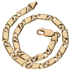 Yellow gold tooled curb link bracelet in 14 kt - 20 cm