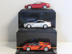Minichamps- Scale 1/43 -lot with 3 British models: 2x Aston Martin en 1x McLaren