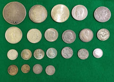 World – lot of 22 international coins – silver