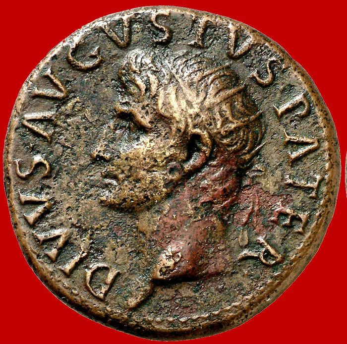 Roman Empire - Tiberius (14 - 37 A.D.), bronze dupondius (14,10 g. 28 mm). Issues in honour of Divus Augustus, Rome mint, 22-26 A.D. Large S.C. within laurel wreath. Rare.