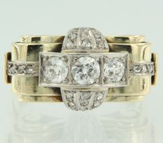 14k bicolour gold retro ring set with bolshevik cut and rose cut diamonds