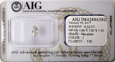 AIG Sealed 0.33  ct Loose Marquise cut diamond I colour,  VS2   ** Low Reserve **