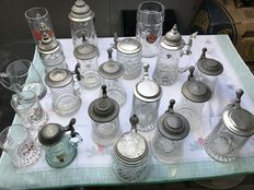 Lot with 20 German old Beer mugs 16 Beer mugs with zinc cover 4 beer mugs without tin lid
