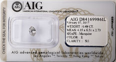 AIG Sealed 0.49  ct Loose  Marquise cut diamond E colour,  SI1   ** Low Reserve **
