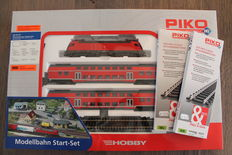 Piko H0 - 57171 - Starter Set with Electric Locomotive BR182 and 2x double-deck coach of the DB with extra Piko rails and switches.