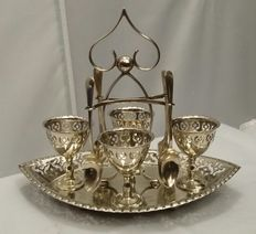 1920's, Silver plated, Egg Cruet Set, Made in Sheffield, England