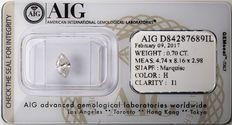 AIG Sealed 0.70 ct Loose Marquise cut diamond  H Color , I1   ** Low Reserve **