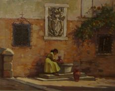 Charles Bisschops (1894-1975) - Petite fontaine à Cuenca