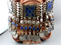 Afghanistan ethnic jewellery, lapis lazuli necklace with many coins,