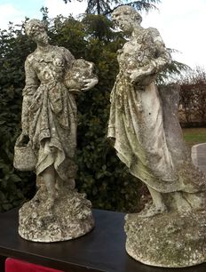 Two imitation granite sculptures depicting water carriers – Italy – 20th Century