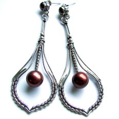 Silver earrings with freshwater pearls  brown colours  10 mm x 9 mm, made by hand