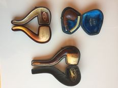 3 pipes in a case - 2 in meerschaum + 1 in briar - mid 20th century - FRANCE