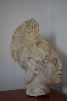 Marble head - Warrior of the Temple of Aphaea - late 19th century