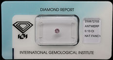0.13 ct Fancy Pink Diamond – NO RESERVE