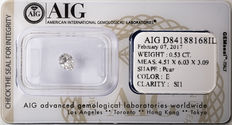 AIG Sealed 0.53  ct Loose Pear cut diamond E colour,  SI1   ** Low Reserve **