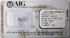 AIG Sealed 0.93 ct Loose Heart cut diamond  F Color , SI3   ** Low Reserve **