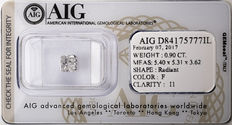 AIG Sealed 0.90  ct Loose Radiant cut diamond F colour,  I1   ** Low Reserve **