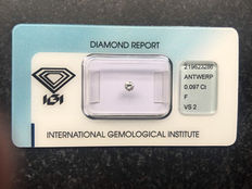 Brilliant cut diamond 0.097 ct F, VS2, IGI certificate, no reserve