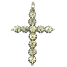18th century gold cross pendant with strass stones encrusted in silver top - anno 1790