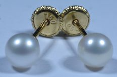 Girls 18 kt gold earrings with spherical pearls