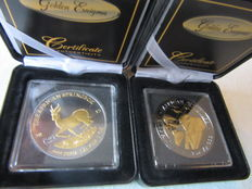 Somalia 100 Shillings 'Elephant' 2015 & Gabon 1000 Francs 'Springbok' 2015 - Lot of 2 Golden Enigma - Silver