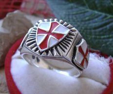 AJS Collection - Sterling Silver 925 stamped 19 grams Unique Knights Templar Soldiers of Christ ring massive Handmade 21st century
