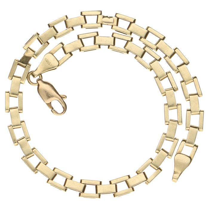 Yellow gold fantasy link bracelet in 14 kt - 20 cm