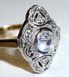 Antique art deco ring with a diamond solitaire of approx. 0.15 ct.