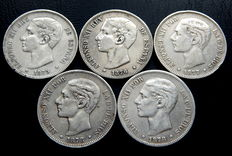 Spain – Alfonso XII 5 silver pesetas from 1875 to 1878 (5 coins) – silver – All different
