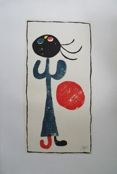 "Joan Miró (from) - ""Petite fille au ballon rouge"" (little girl with red ball)"