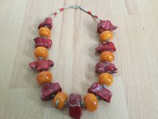 Bridal necklace, North Africa, synthetic resin, tinted coral – Morocco