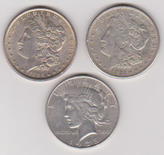 USA - 3 silver dollars 1886, 1921 S and 1935 S