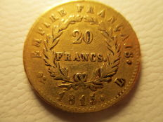 "France – 20 francs – ""Napoleon/The 100 days"", 1815 L, Bayonne – Gold"