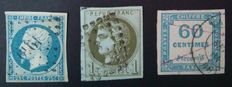 France 185371 - Selection of 3 classical stamps, 2 signed Calves with digital certificate - Yvert n ° 15, 39B and tax 9