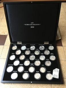 "France - 10 euro ""Euros of Regions 2010"" - case of 26 coins, silver"